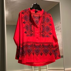 J. Crew Red Print Long Sleeve Blouse Size Small